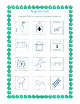 Create a Map!  A hands-on social studies activity where students review map symbols, create their own map key, and use the key to make their own map!  Great for all young learners!  Many visuals used-ideal for children with special needs!