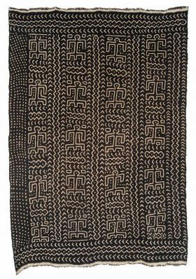 Africa | Mud cloth from the Bamana women of Mali | ca. mid 20th century | Strip woven cotton with dense application of iron rich mud to the mordanted cotton cloth results in intricate negative pattern of exposed bleached area.