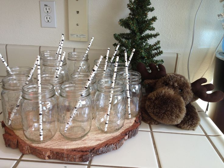 Rustic Baby Shower With Moose Mason Jars And Birch Straws