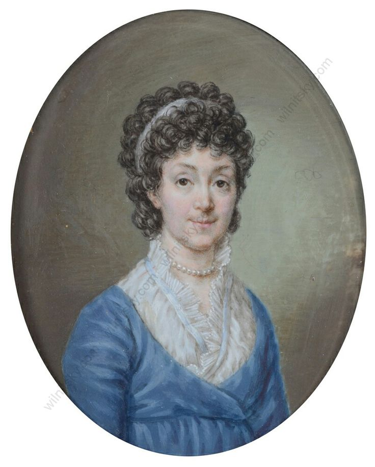 D.Chodowiecki, Portrait of Madame E.W.Lengnich wife of Carl Benjamin Lengnich from Danzig, late 1798 - 1800, very rare miniature and costume from these time from Danzig, Boris Wilnitsky Art