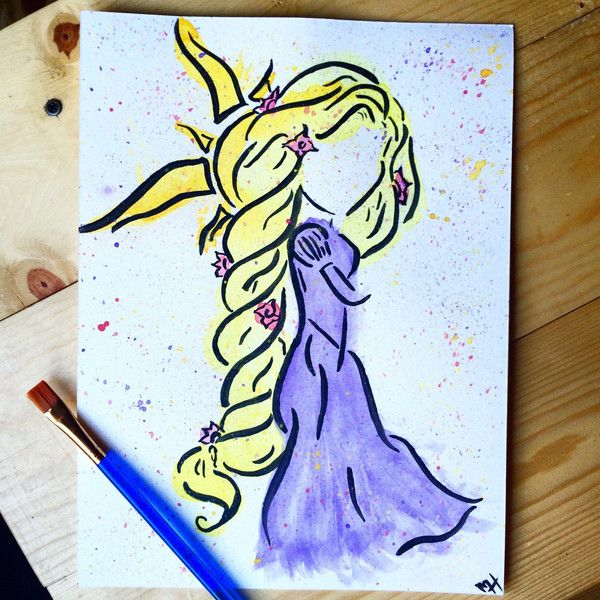 Rapunzel painting (150 MXN) ❤ liked on Polyvore featuring home, home decor, wall art, princess painting, watercolor painting, water painting, watercolour painting and water color painting