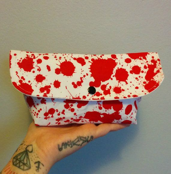 Blood Splatter Mini Clutch with Snap by GraveEndeavours on Etsy