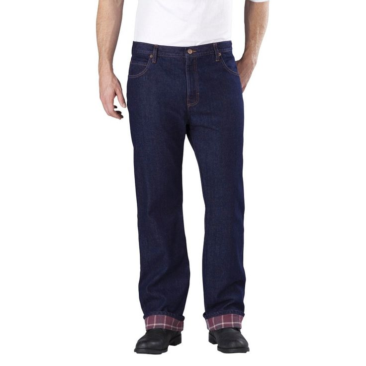 Dickies - Big & Tall Relaxed Straight Fit Denim Flannel-Lined 5-Pocket Jeans Indigo Blue, Size: 44x32, Indigo Blue Washed