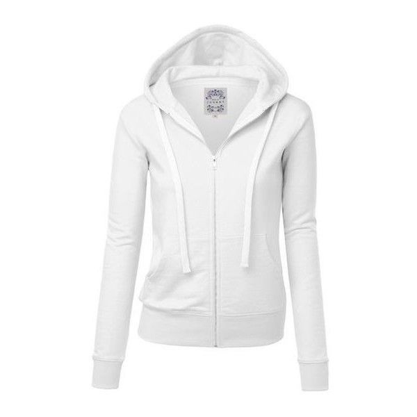 MBJ Womens Active Soft Zip Up Fleece Hoodie Sweater Jacket ❤ liked on Polyvore featuring tops, hoodies, hooded fleece pullover, fleece hoodie, white hoodies, fleece zip up hoodies and white hoodie