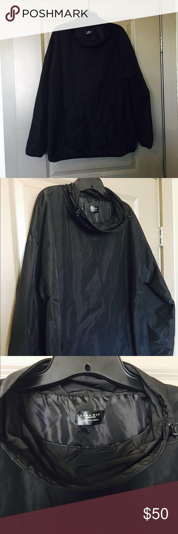 🎉SALE🎉Zara Windbreaker Zara men's size L black adjustable shawl-neck windbreaker. Brand new with tags. Very unique! Zara Jackets & Coats Windbreakers