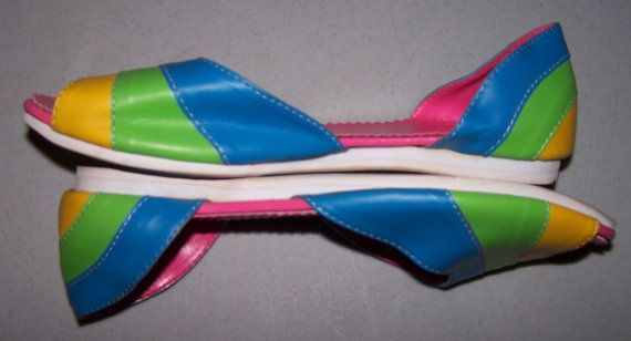 Vintage 80's Shoes  Neon Sandals  Colorblock by CommonCentsThrift