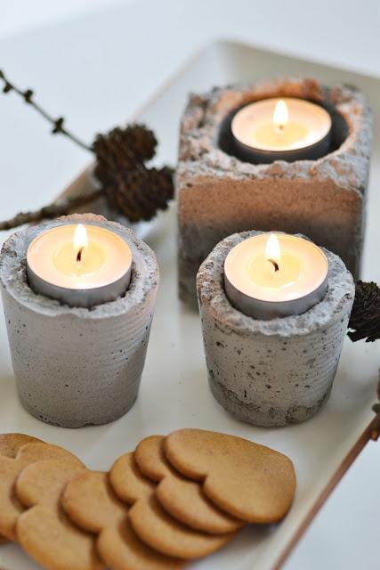 Kerzenhalter aus Beton gefertigt aus Büchsen