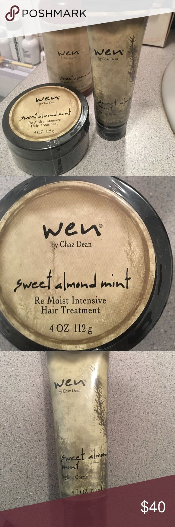 Wen haircare 3 products by Wen hair care products. One is a sweet almond mint intensive hair treatment, The other is a sweet almond mint styling cream, and the big bottle is the Wen sweet almond mint cleansing conditioner. Great products, I love ❤️ them! 💛 All brand new unopened product👍 Wen Makeup