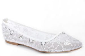 White Lace Diamante Wedding Ballerina Bridal Flat Pumps UK 3 4 5 6 7 7.5  | eBay