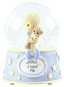 Precious Moments Figurine: Boy, Jesus Loves Me Musical Water Globe