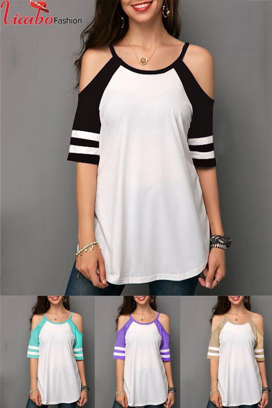 9bc0417232632 Women s Cold Shoulder Long Tops T Shirt Short Sleeve Summer Top Blouse Plus  Size