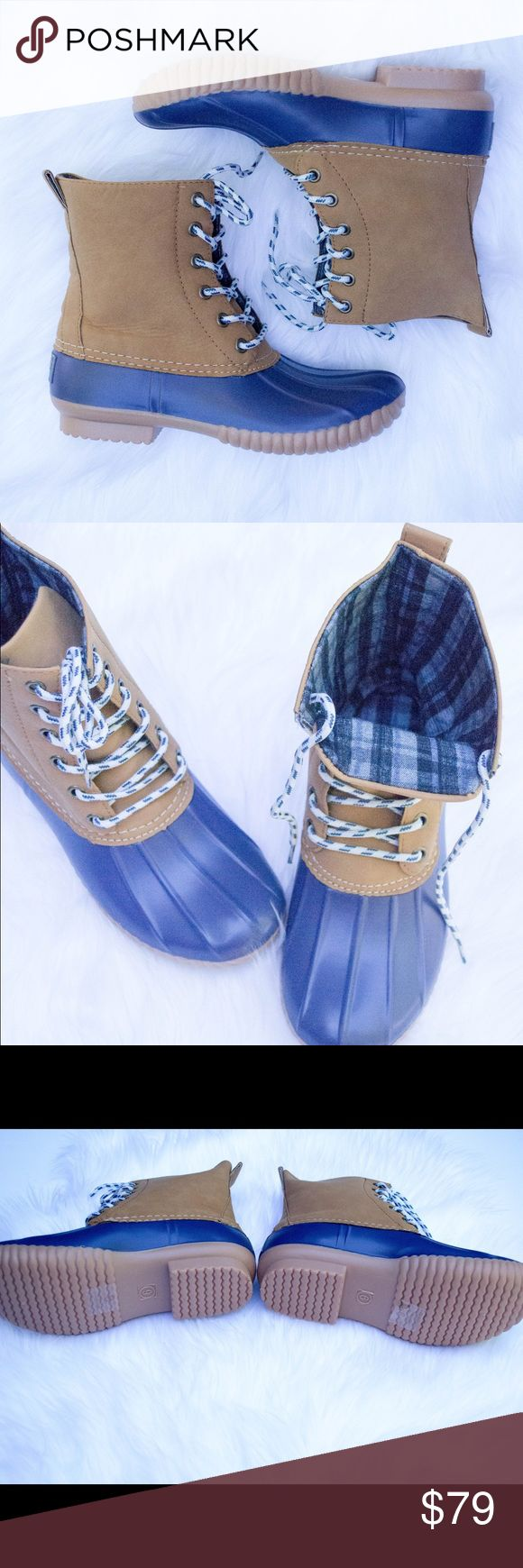 Matte Navy Duck Boots This listing is for matte navy. These are selling like crazy for fall  $79 each or $130 for 2 pairs. Other colors available  Select lining in each boot to keep you comfy. Stitched synthetic rubber sole for durability and grip  Price FIRM unless bundled. Kyoot Klothing Shoes Winter & Rain Boots