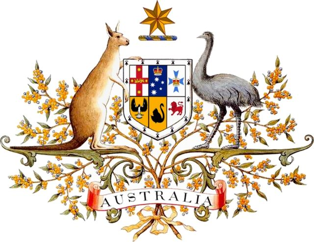 The coat of arms of Australia (officially known as the Commonwealth Coat of Arms) is the official symbol of Australia. The initial coat of arms was granted by King Edward VII on 7 May 1908, and the current version was granted by King George V on 19 September 1912, although the 1908 version continued to be used in some contexts, notably appearing on the sixpenny coin until 1966.