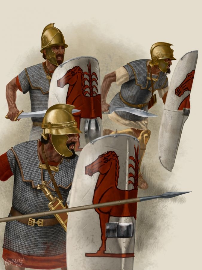 Carthaginian troops, wearing chain mail (lorica hamata) hauberks. The Romans were the first major proponents of chain mail and during the First Punic War the Carthaginians were treated to a front row demonstration of its protective abilities. They were notably impressed and Hannibal's African troops often stripped dead Romans for their elaborate hauberks.