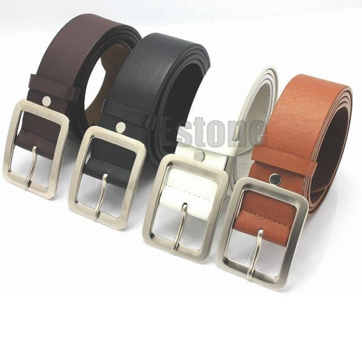 Fashion Men's Casual Dress Faux Leather Belt Buckle Waist Strap Belts Korean Wild Alloy Button Deduction Male And Female Belt