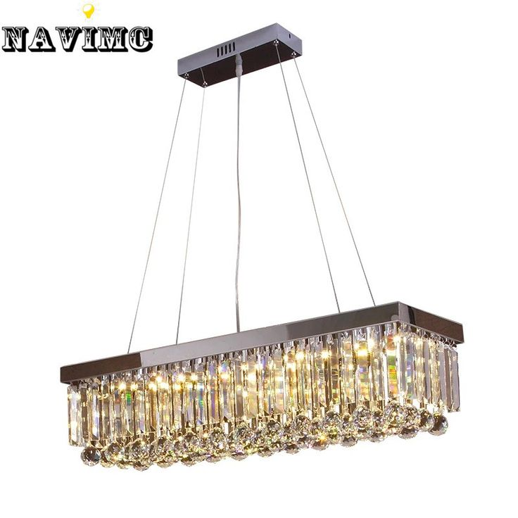 Modern Luxury Lustre Rectangular Crystal Chandelier for Dining Room lamp Bedroom Foyer Lighting Fixture LED Bulbs Included #Affiliate