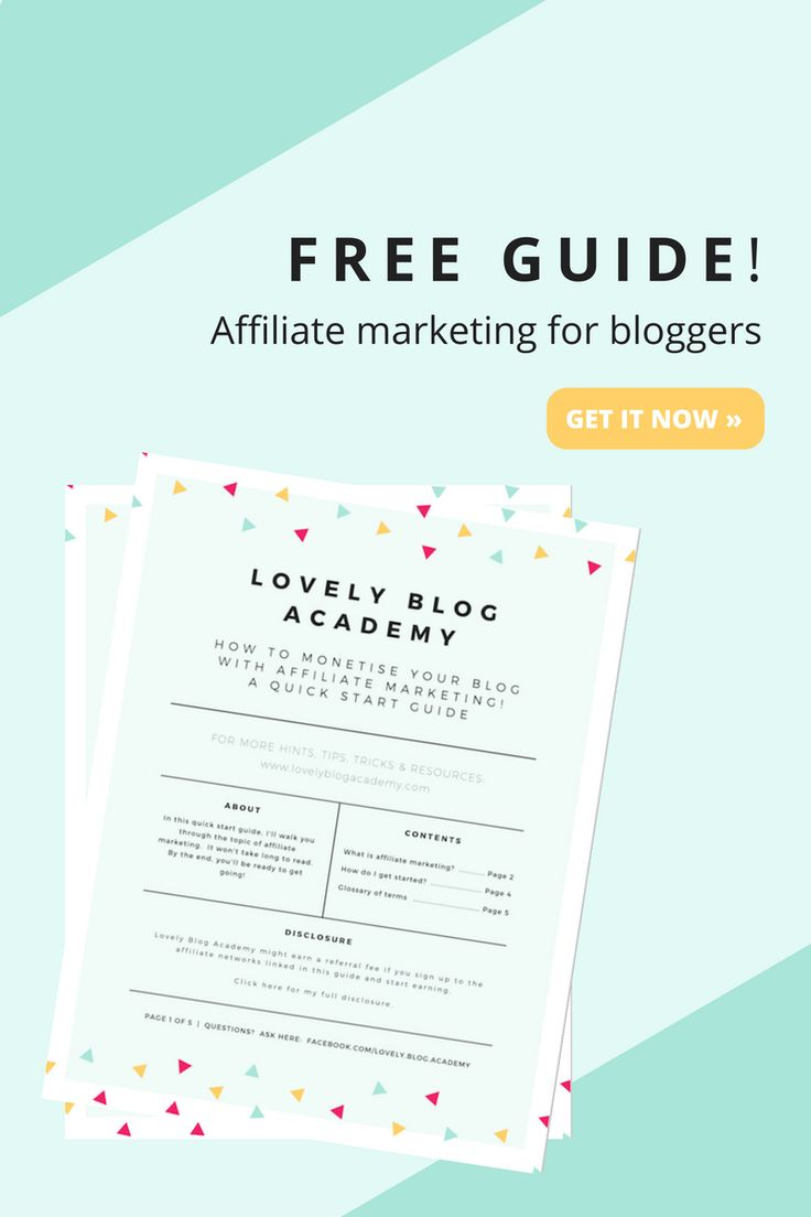 Is blog monetization your main priority for 2017?  If you're new to affiliate marketing, I'll explain the process in this guide.  Includes great tips, such as what affiliate marketing is, how it works, where to start, which networks I use, which platform I recommend and a glossary of terms to demystify the gobbledygook. Download it at:  http://www.lovelyblogacademy.com/from-pinterest