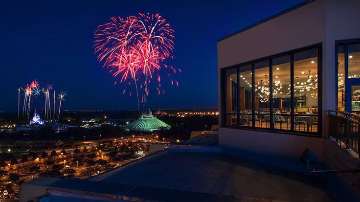 View of Magic Kingdom fireworks from the California Grill on top of the Contemporary Resort at Walt Disney World. Food is wonderful and view is better!