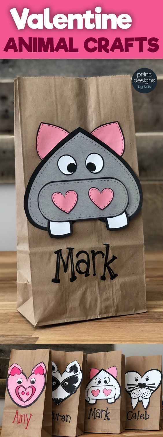 Super easy LOW PREP Valentine's Day Craft that is perfect to use as the card holder for each student! Grab the bundle and allow students to choose what Valentine Animal Craft they want to do to make their Valentine card holder! #valentines #valentinesdaycraft #valentinescraft #valentine'sdaycrafts