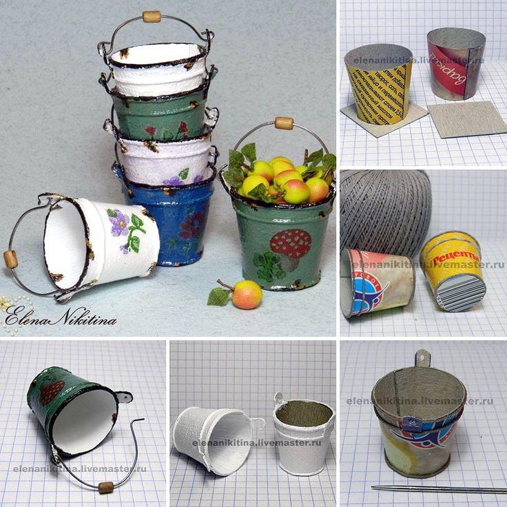"Incredible tutorial! How to make tiny carton buckets that look sooo real | Мастер-класс по миниатюре: делаем ""эмалированные"" ведерки"