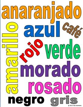 Color the Spanish Color Words and Class Sign by Sue Summers - 1 page for students to color, 1 with color to print and hang. Spanish bulletin board.