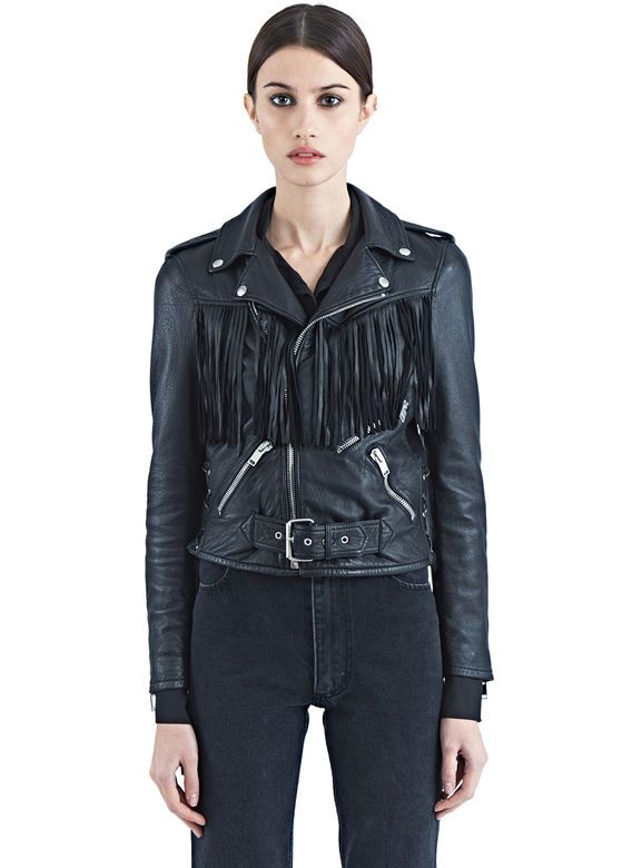 Pre SS16: Saint Laurent Fringed Motorcycle Jacket | S S 1 6 ...