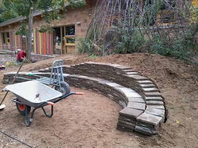 retaining wall seating...add friends, a fire pit, and the evening is complete