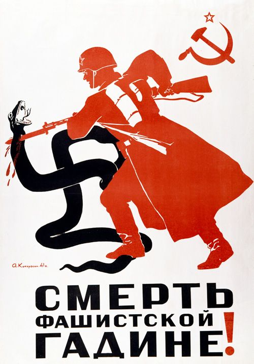 """""""Death to the Fascist Beast!"""" is the caption on this Soviet propaganda poster, dating from 1941, in which a Russian soldier bayonets a swastika-shaped serpent. (Image: Laski Diffusion/Getty Images)"""