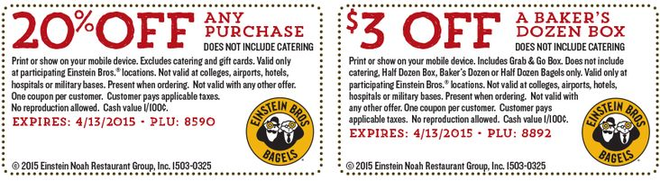 Pinned April 3rd: 20% off at #EinsteinBros Bagels #coupon via The #Coupons App