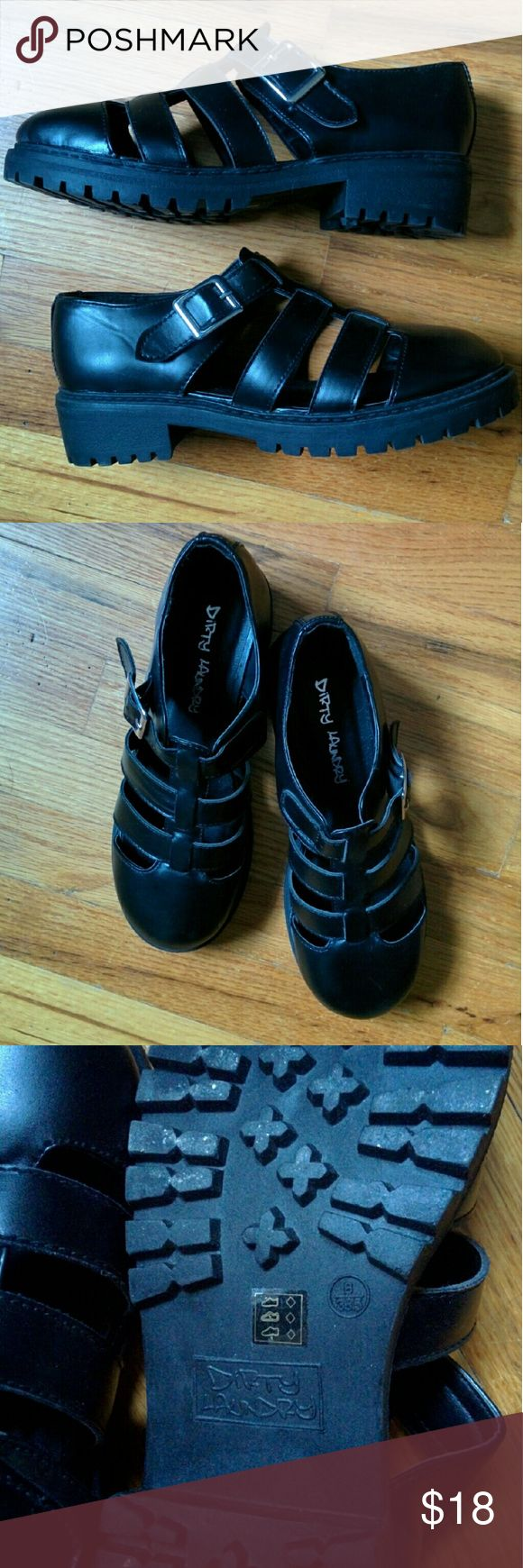 Dirty laundry fisherman shoes Black faux leather chunky shoes from Tilly's. They are marked as an 8 but a bit too big for me unless wearing thick socks. I'd say they fit a borderline size 8.5 or a very wide size 8. Never worn! Tilly's Shoes Flats & Loafers