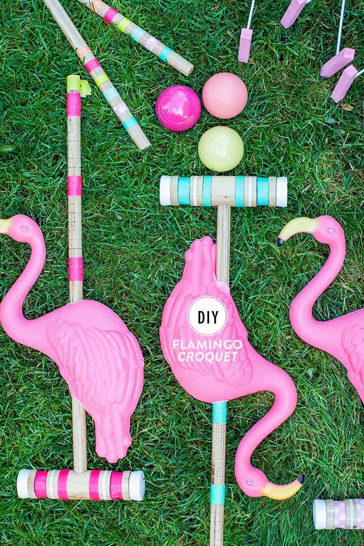 Croquet is a game that everyone loves, young and old and we're just bringing a sense of whimsy to the game but dressing up plain mallets with a pink flamingo...the kind of plastic flamingo lawn ornaments that you find gracing front yards this time of year! We think it's a chic way to bring a smile to your guests faces. While you do need a drill to make the hole on the flamingo, it's a one shot deal and totally easy even for the novice.DrillSpade drill bit (same size as the diameter...
