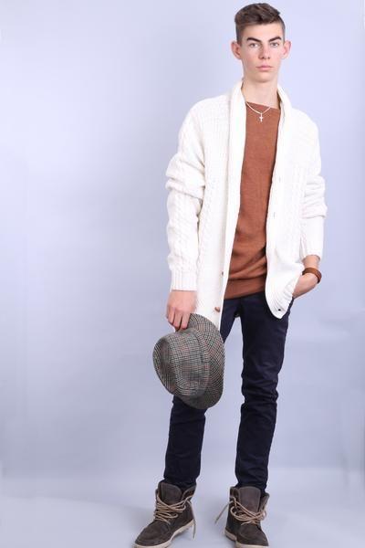 Bondelid Mens XL Jumper Sweater Beige Single Breasted Cotton - RetrospectClothes