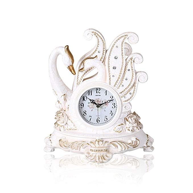 Haofay Clock European Vintage Mantel Resin White Quartz Clock Antique Living Room Desk Shelf Clock Decoration Review Vintage Clock Mantel Clocks Clock
