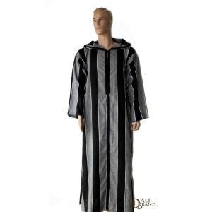 This Jellaba for men is THE garment to satisfy the inner Lawrence of Arabia existing within you. Loose, comfortable and light, the fabric is especially made of traditional stripes that translate the elegance of Moroccan Jellabas.    Available in White/Grey and Black/Grey