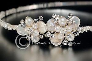 Wedding Bridal Headband Keshi Pearl Flowers & Rhinestones Beach Headpiece