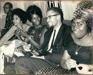 Malcolm X at a reception held in Nigeria during a visit (1964).