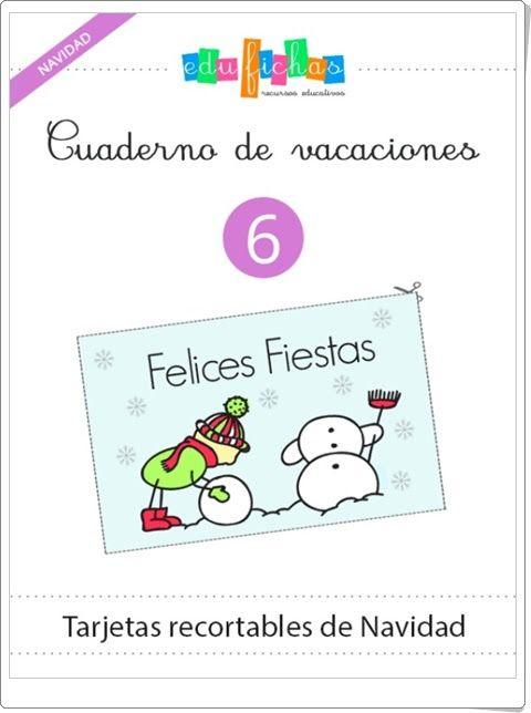 """Cuaderno de Vacaciones 6: """"Tarjetas recortables de Navidad de Educación Infantil"""""""