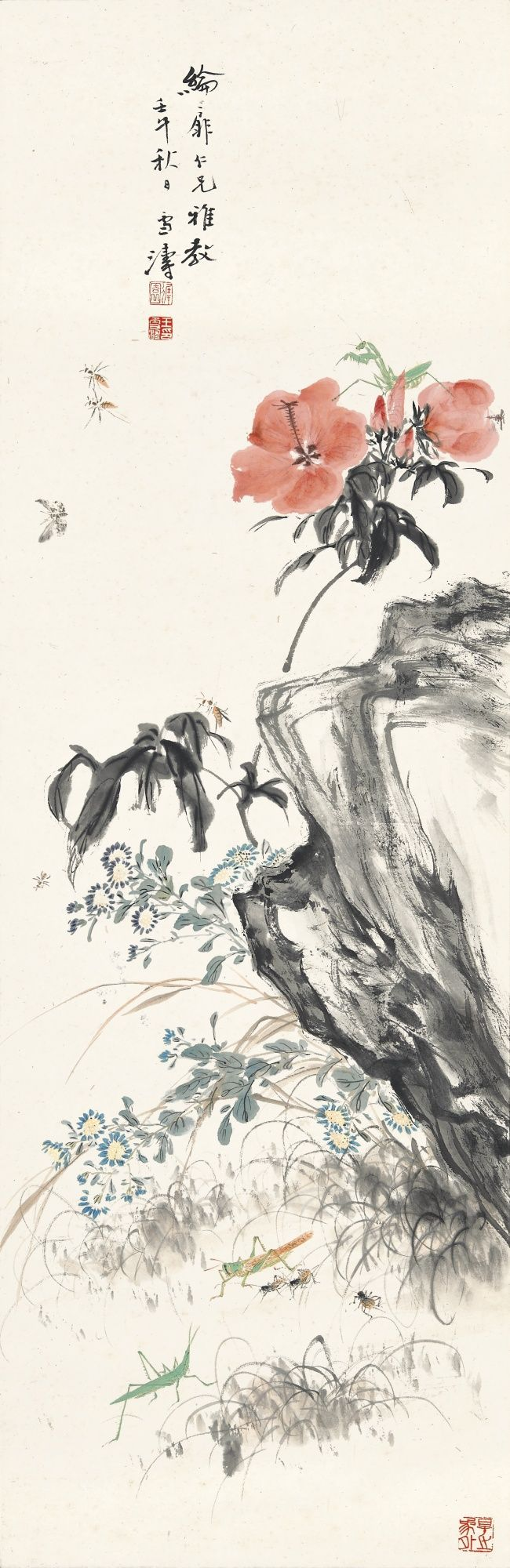 Wang Xuetao (1903-1992) HIBISCUS AND INSECTS signed XUETAO, dated 1942, with a dedication, and three seals of the artist ink and color on paper, framed 101.5 by 33 cm. 40 by 13 in. 王雪濤 朱槿草蟲 設色紙本 鏡框 一九四二年作 款識: 綸扉仁兄雅教。壬午秋日。雪濤。  鈐印:「遲園」、「王雪濤印」、「得之象外」。   101.5 by 33 cm. 40 by 13 in.
