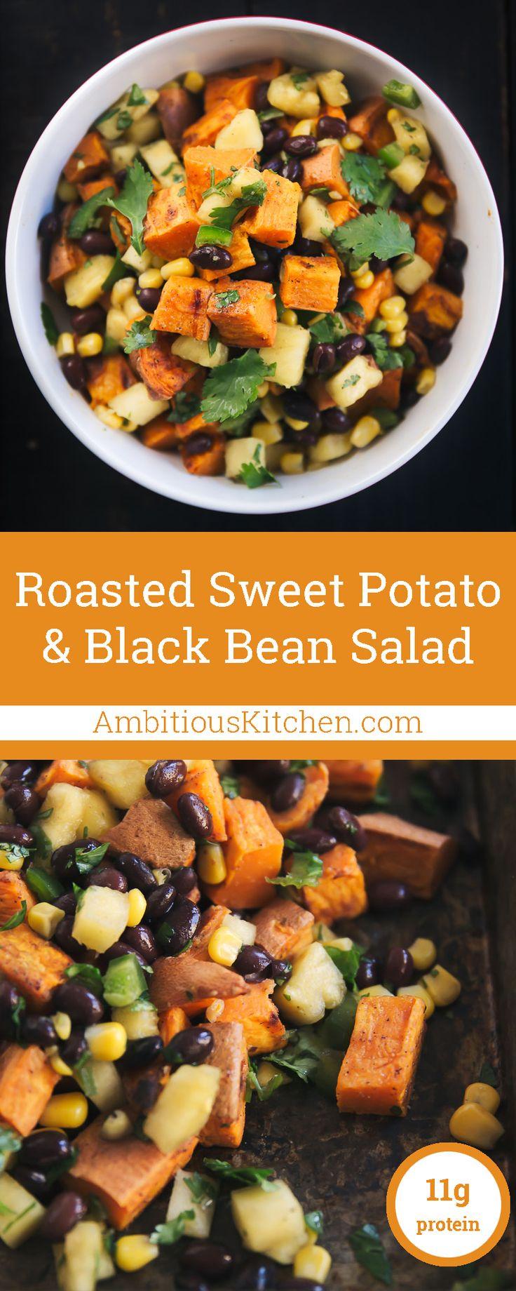 Incredibly delicious vegan & gluten free black bean sweet potato salad with sweet pineapple & corn salsa.