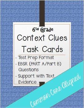 Part Apart B Context Clues Task Cards 6th Grade 6th Grade Reading
