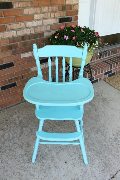 LOVE this painted vintage highchair!