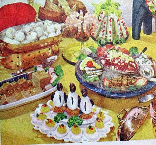 The most cheerful mess I done ever laid eyes on. Plus penguins! Image result for potluck spread vintage