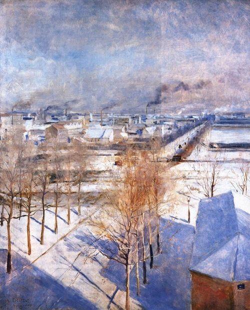 EDELFELT, Albert, Finnish painter (b. 1854, Kiala Estate, d. 1905, Haikko), Paris in the Snow, 1887, Oil on panel, 46 x 37 cm  Atheneumin Taidemuseo, Helsinki
