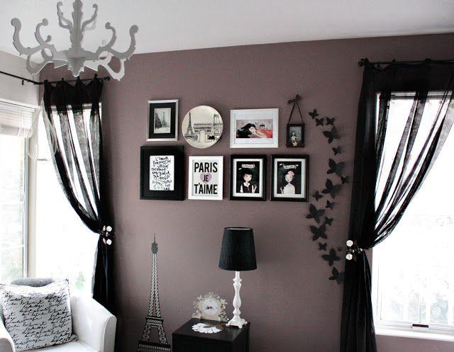 Love & Lace: A purple accent wall  Paint color: Valspar Lilac gray