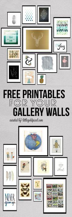 Decoración de pared, imprimibles gratis - Free printables for gallery walls
