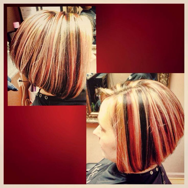 ... inverted bob haircut. Hair. Hairstyle. Chunky highlights. 3 colors. #