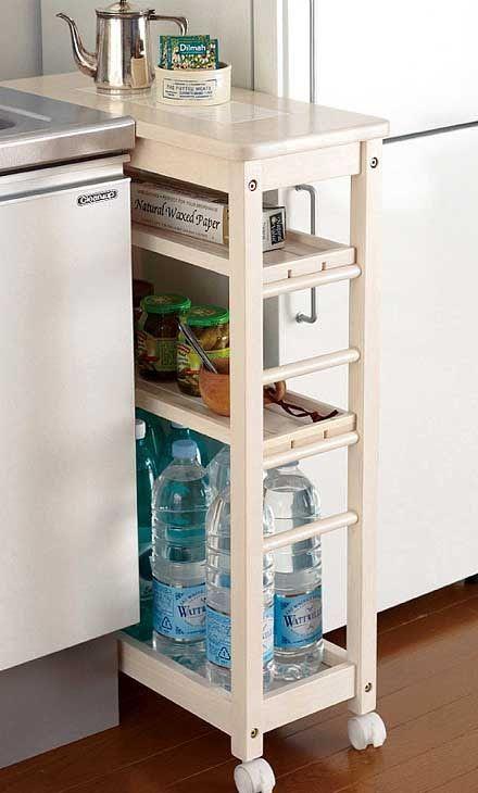 Каждой хозяйке хочется, чтобы пространство на кухне было удобно организовано: так, чтобы все было под рукой. На маленькой кухне задача организации рабочего места тесно переплетается с проблемой хранения всей нужной утвари. Предлагаем вам полезные идеи для маленькой кухни, в которых показано как практично можно использовать небольшое пространство между мойкой и холодильником. Выдвижные секции на колесиках …