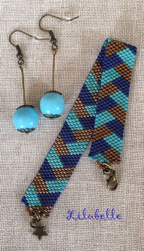 bracelet peyote à chevrons bleu foncé et turquoise L'été se prête toujours à ce genre de couleurs quelle que soit la teinte de la peau ! J'ai décliné le même motif avec un bracelet plus bling bling ( perle turquoise irisé et à effet métallique bronze...