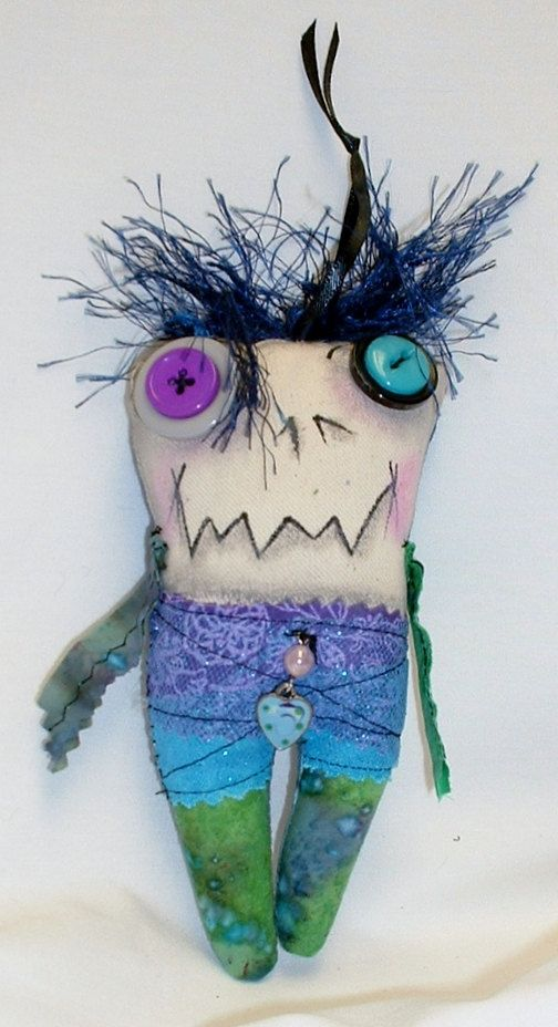 Mini Monster Halloween Zombie Voodoo Doll by FromGramsHouse, $10.00