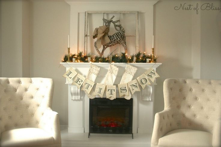 Reindeer Christmas Mantel Fireplace